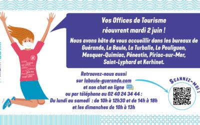Réouverture de l'Office de tourisme le 2 juin